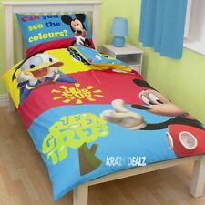 Disney Mickey Mouse Puzzled Single Panel Duvet Cover Bed Set New Gift