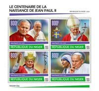 Niger Pope John Paul II Stamps 2020 MNH Mother Teresa Famous People 4v M/S