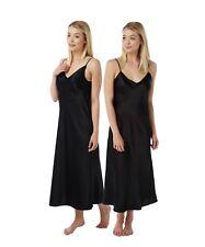 Ladies Full Length Long Black Satin Nightdress einfaches schwarzes Nachthemd