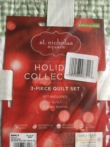 St. Nicholas Square 3Pc Holiday Quilt Set