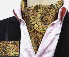 (LJA06) Handmade Gold Yellow Paisley Men Cravat Ascot Tie Set With Handkerchief