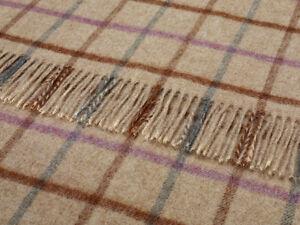 BRONTE THROW BLANKET RUG - PURE BRITISH WOOL - WINDOWPANE MULTI RUST T0070/D03