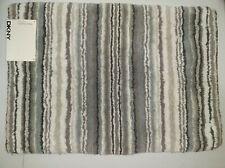 """Dkny Bathroom Rug Mat - White Gray Stripes Houston Stripe 17"""" x 24"""" 100% Cotton"""