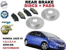 PARA Honda Jazz 1.2 1.3 1.4 Hatchback Juego freno disco trasero + pastillas de