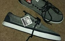 Men's shoes DJINN'S Grey Faded Blue Chambray Lace-up Pimsolls Trainers size 10