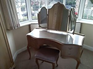 olympus dressing table and stool louis french style vintage antique  cream wood