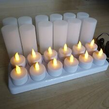 12 LED Flickering Rechargeable Tea Lights Candles set, Wax-less, Flameless