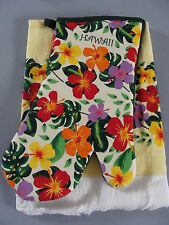 Brand New Hawaiian Kitchen Towel Oven Mitt hibiscus fern yellow cotton