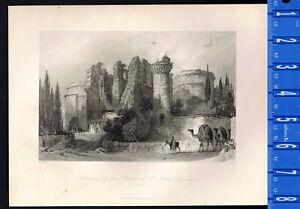 Ruins of the Church of St. John, Pergamus - 1847 Scripture Engraving