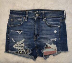 American Eagle hi rise shortie shorts womens 6 American Flag pockets distressed