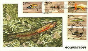Collins FDC Hand Painted GOLDEN TROUT #2545-49 Fishing Flies 5 Booklet Singles