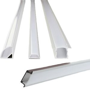 LED Strip Aluminum Channel, 6 Pack Recessed U V Shallow + Frost Cover + End Cap