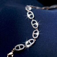 18k yellow gold gf made with SWAROVSKI crystal Marine stud Link tennis bracelet