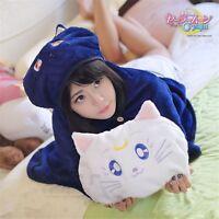 Luna Cat Pattern Hooded Cloak Coral Fleece Blankets Anime Sailor Moon Cosplay