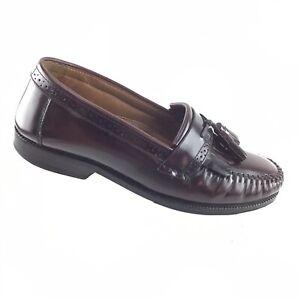 Bass Burgundy Leather Tassel Kiltie Dress Loafers Slip On Men's 7 D Shoes RA5