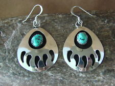 Navajo Indian Jewelry Sterling Silver Turquoise Bear Paw Dangle Earrings