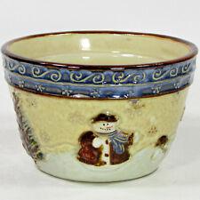 """St. Nicholas Square FOREST FRIENDS 24oz Cereal Soup 5.5"""" Bowl Snowman Snowflake"""