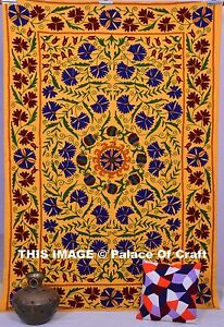 Indian Handmade Wall Hanging Hippie Twin Size Suzani Floral Ethnic Bedspread
