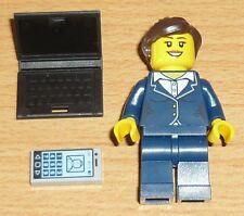 Lego City 1 Geschäftsfrau mit Leptop und Handy (als Fliese) 1