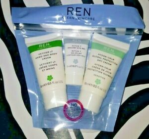 REN CLEAN SKINCARE Pack 3 Travel Gift Set Hand&Body eye Gel Evercalm Day Cream