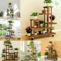 Plant Rack Home Flower Pot Stand Holder In/Outdoor Wrought Iron/Wooden Decor US