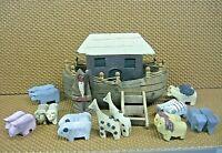 Vintage Noah's Ark 22 Hand Painted Wooden pieces Handmade Folk Art