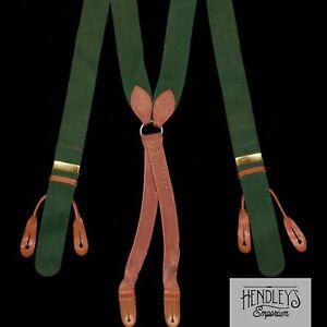 THURSTON LONDON Suspenders in Forest Green Boxcloth (Wool Felt) Brass Goatskin