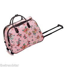 Ladies Travel Bags Holdall Hand Luggage Women's Weekend Handbag Wheeled Trolley Pink Butterfly S3