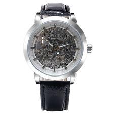 Winner Men Casual Silver Transparent Mechanical Hand Wind Wrist Watch Skeleton