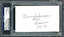 """Gene Hickerson Autographed 3x5 Index Card Browns """"#66 58-73"""" PSA/DNA 83721444"""