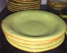 "(4) Vietri Fresca Italy Pottery Sage/Cream Pasta/salad/soup Bowls 7.5"" Excellent"
