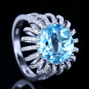 Solid 10K White Gold Round 11mm Cut Blue Topaz Natural Diamonds  Engagement Ring