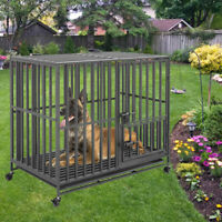 Rolling Heavy XXL Large Pet Cage Thick Metal Dog Crate Kennel Playpen with Tray