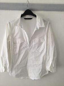 Ladies White Zara Shirt/blouse Size Medium