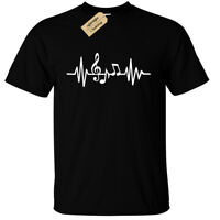 Music Heart beat T-Shirt Mens Musician Band Grunge Rock singer ekg wave line