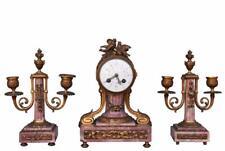 Garniture de cheminée de style Louis XVI bronze et marbre fleur de pécher XIXème