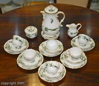 Kaffee Tee Service 16 tlg. Meissen Dekor grüner Drache Porzellan Tasse Kanne