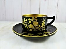 Japanese Wooden Tea Cup With Saucer Lacquer Ware Black Hand Painted Gold Flora