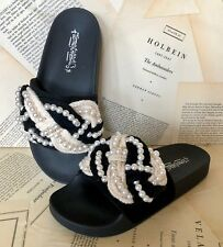 NEW Jeffrey Campbell ivory Braided Slip On Molded Sandals Shoes 38/7