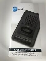 ONN Cassette Recorder With External Microphone & Blank Cassette Tape NEW