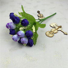 HOME *Fake Silk Flowers 15pc/Bouquet Artificial Rose Wedding Party Decor Plants^