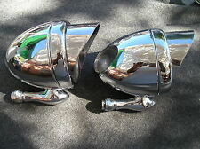 NEW PAIR OF CHROME METAL VINTAGE STYLE DUMMY SPOT LIGHTS WITH VISORS .