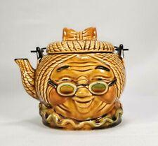 Vintage 1960s Granny Head Figural Teapot Metal Handle Ceramic Japan 4 Cup EUC