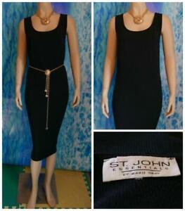 ST. JOHN Essentials Santana Knit Black Dress L 12 14 Sleeveless Sheath LBD