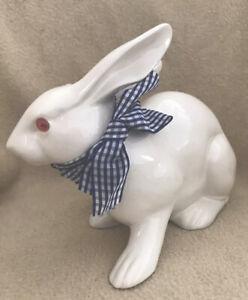 White Ceramic Bunny Rabbit Statue Figurine Tabletop Decor With Ribbon/ Flaw