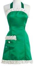 New listing Anthropologie Ruffles + Satin Apron Green + White Mom Gift Hostess Shower Nwt