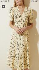 M&S X GHOST YELLOW CHERRY PRINT DRESS-BNWT-12