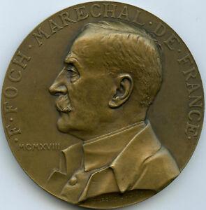 Maréchal Foch et l'armistice de Rethondes Médaille par Prud'homme 1918