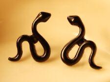 Pair Of Cute Snake Ear Cuff Stud Earrings Climber Rings Jewellery Black ECF13