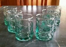(6) Unusual and Fun Pale Green Glass Tumblers Embossed Jalapeños EUC